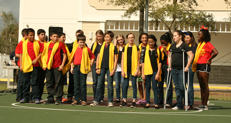 The event featured performances from the school chorus, cheer clubs and  guitar students. The new charter school opened last August in Royal Palm  Beach.